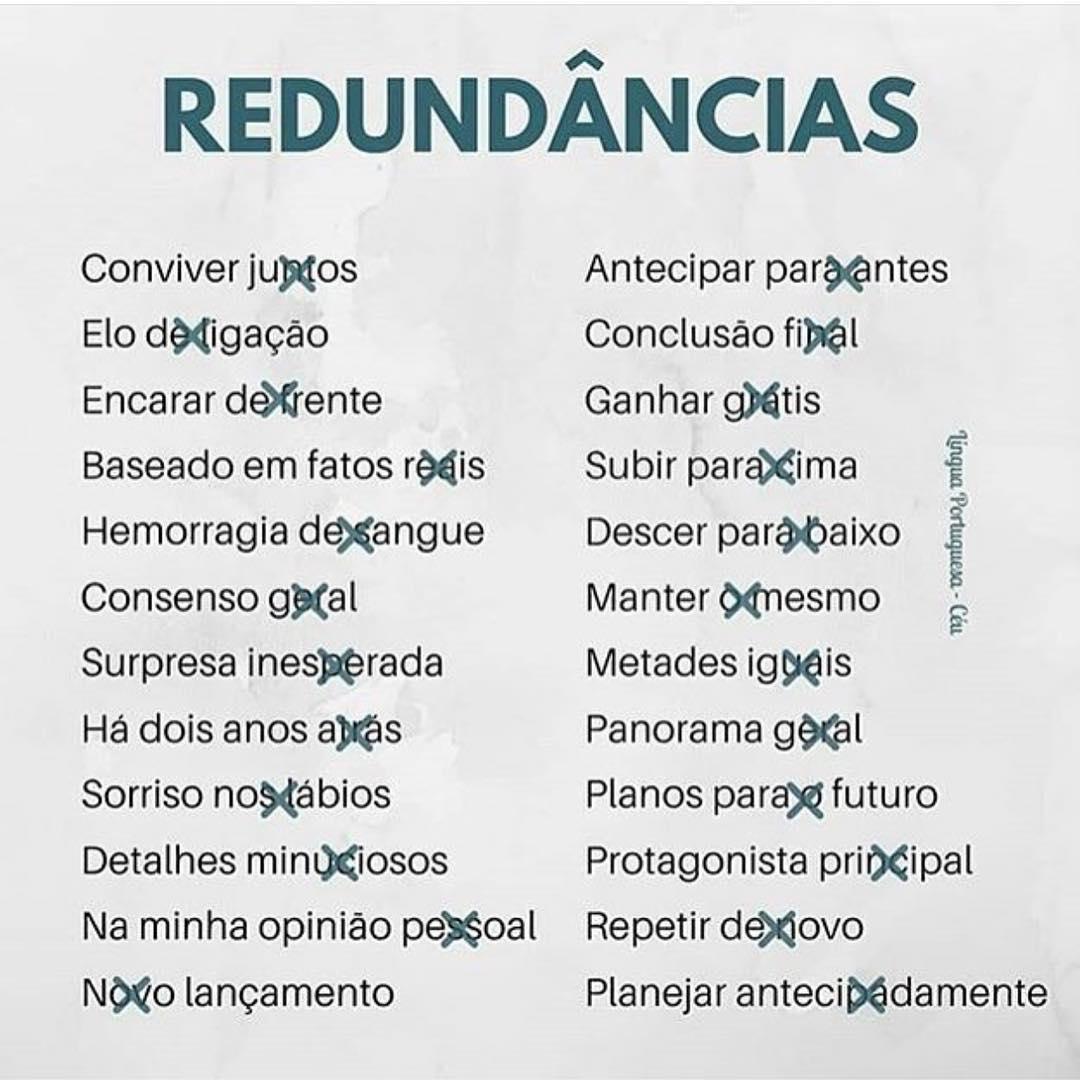 Redundancia En Portugués Frases Y Expresiones Más Comunes